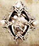 Sketch of tattoo art, magic mirror. Illustration Stock Photos