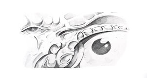 Sketch of tattoo art, mechanical eye Royalty Free Stock Images