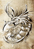 Sketch of tattoo art, medieval dragon Royalty Free Stock Photography