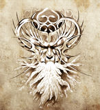 Sketch of tattoo art, monster mask with white fire. Draw Stock Photo