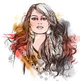 Sketch of tattoo art, portret of lovely American Indian girl. Stock Images