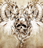 Sketch of tattoo art, skull and dragons Royalty Free Stock Photography
