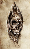 Sketch of tattoo art, skull head illustration Royalty Free Stock Photos