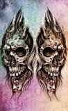Sketch of tattoo art, skull head illustration Stock Photo