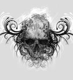 Sketch of tattoo art, skull with tribal flourishes stock photo