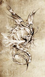 Sketch of tattoo art, stylish dragon illustration Stock Images