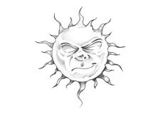 Sketch of tattoo art, sun with face Stock Photography