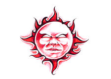 Sketch of tattoo art, sun with face Stock Photo