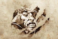 Sketch of tattoo art, vampire in the night Stock Photo