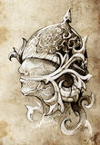 Sketch of tattoo art, warrior Stock Image