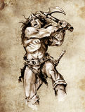 Sketch of tattoo art, warrior fighting Royalty Free Stock Photo