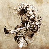 Sketch of tattoo art, warrior fighting Stock Photography