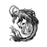 Sketch of tattoo.Capricorn guarding the baby vector illustration