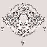Sketch of tattoo henna hearts Royalty Free Stock Image