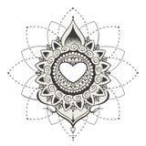 Sketch of tattoo henna hearts Stock Photo