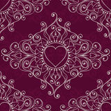 Sketch of tattoo henna hearts. Seamless pattern Royalty Free Stock Image