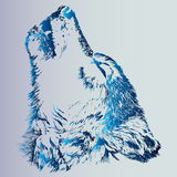 Sketch of a tattoo howling wolf. An animal is a predator. Blue gradient is an idea for a tattoo. Realistic profile of the wolf. The wolf howls to the moon. Blue vector illustration