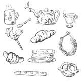 Sketch of tea set and pastries and sweets Royalty Free Stock Images