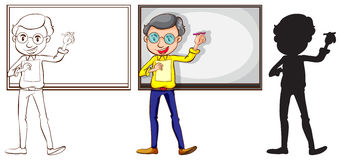 Sketch of a teacher in three different colors Royalty Free Stock Image