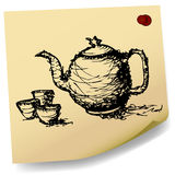 Sketch teapot with cup  on sticky  paper vector Stock Photos