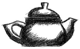Sketch of a Teapot isolated Royalty Free Stock Photos