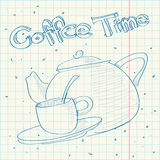 Sketch of teapot in a writing-book. Stock Image