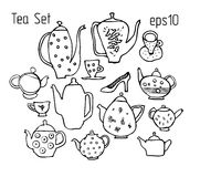 Sketch of teapots, cup and dishes made in funny style. Stock Image