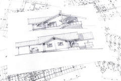 Sketch with technical project drawings Royalty Free Stock Photos