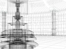 Sketch of technology building Royalty Free Stock Images