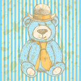 Sketch Teddy bear in hat and cravat, vector  background Royalty Free Stock Image