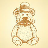 Sketch Teddy bear in hat with mustache,  background Royalty Free Stock Photo