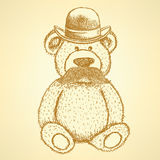 Sketch Teddy bear in hat with mustache,  background Stock Photo