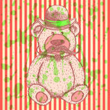 Sketch Teddy bear in hat with mustache, vector background Stock Photos