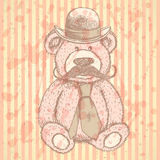 Sketch Teddy bear in hat and tie with mustache, vector backgroun Royalty Free Stock Photo