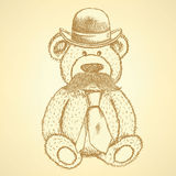 Sketch Teddy bear in hat and tie with mustache, vector backgroun Stock Image