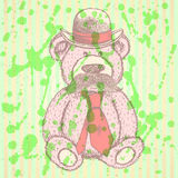 Sketch Teddy bear in hat and tie with mustache, vector backgroun Royalty Free Stock Photography