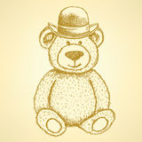 Sketch Teddy bear in hat, vector background Royalty Free Stock Photography