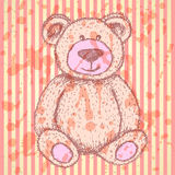 Sketch Teddy bear, vector vintage background Royalty Free Stock Photo