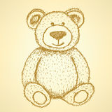 Sketch Teddy bear,  vintage background Stock Image