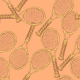 Sketch tennis equipment in vintage style Stock Images
