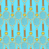 Sketch tennis equipment in vintage style Stock Photos
