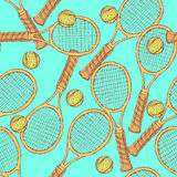 Sketch tennis equipment in vintage style Royalty Free Stock Image