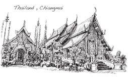 Sketch of Thai temple asia style in Chiangmai, Wat Mahawan  Royalty Free Stock Photo