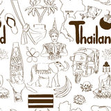 Sketch Thailand seamless pattern Royalty Free Stock Photo