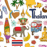 Sketch Thailand seamless pattern Royalty Free Stock Photography
