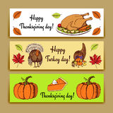 Sketch Thanksgiving banners Stock Photo