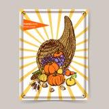 Sketch Thanksgiving cornucopia Stock Photos