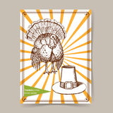 Sketch Thanksgiving turkey and hat Royalty Free Stock Photos
