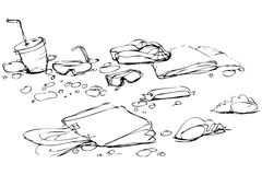 Sketch of thing that lie on sand of beach Royalty Free Stock Photography