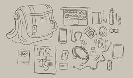 Sketch of things inside bag, from laptop to headphone, book, magazine all in vector. Drawing Royalty Free Stock Photos